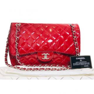 Chanel Red Patent Leather Maxi Jumbo Flap