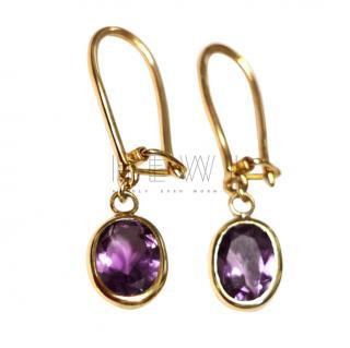 Fragments 14k Yellow Gold Amethyst Drop Earrings