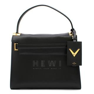 Valentino Black Leather My Rockstud Top Handle Tote Bag