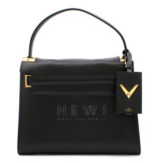 Valentino Black Leather My Rockstud Top Handle Tote Bag