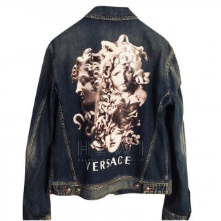 Versace Men's Medusa Print Back Denim Jacket