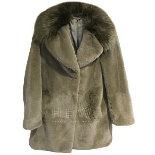 Diane Von Furstenberg Khaki Faux Fur Coat