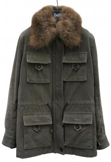 Dolce & Gabbana Fur Collar Khaki Jacket with Removable Fur Lining