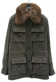 Dolce & Gabbana Fur Collar Khaki Jacket with Removable Fur Lining