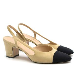 Chanel Two-Tone Suede & Grosgrain Sling-Back Pumps