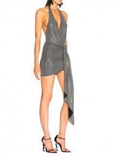 Alexandre Vauthier Microcrystal Embellished Halter Mini Dress