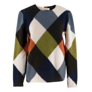 Valentino Multi-Coloured Diamond Wool Jumper