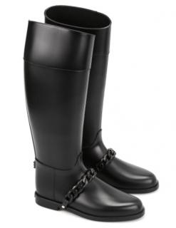 Givenchy Eva Black Rubber Chain Rain Boots