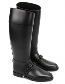 Givenchy Eva Black Rubber Chain Rain Boots
