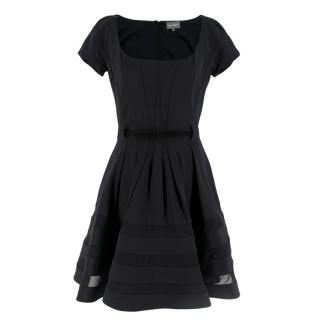 Zac Posen Black Belted Panelled Mini Dress