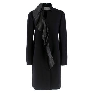 Valentino Black Wool & Cashmere Coat W/ Leather Frilled Trim