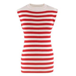 Dolce & Gabbana white & red striped sleeveless top