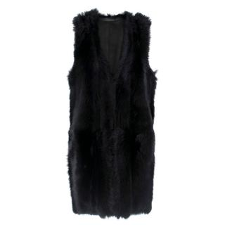 Karl Donoghue Black Faux Fur Sleeveless Jacket