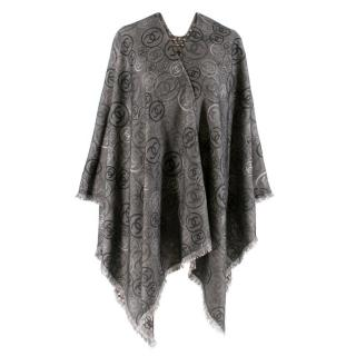 Chanel Grey Cashmere CC Printed Reversible Cape