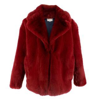 Diane Von Furstenberg Crimson Faux Fur Coat