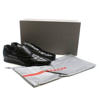 Prada Velcro Black Patent Loafers