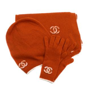 Chanel Cashmere & Silk hat, scarf and gloves set