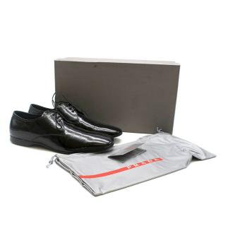 Prada Lace-Up Patent Black Oxford Loafers
