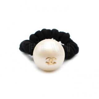 Chanel Faux Pearl Hair Scrunchie