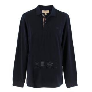 Burberry Men's Navy Long-Sleeve Polo Shirt