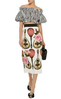 Dolce & Gabbana Mandolin Print Pencil Skirt