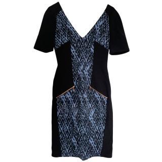 Matthew Williamson fitted black & blue printed dress
