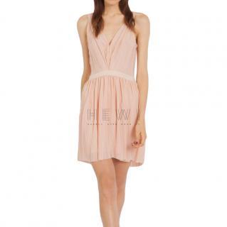 Maje Pink Pleated Mini Dress