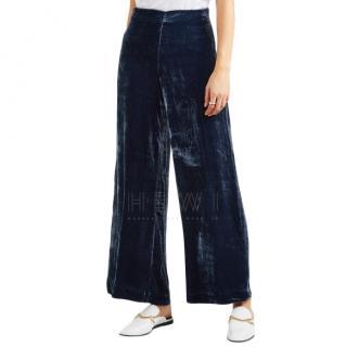 Staud Margaux crushed-velvet wide-leg pants
