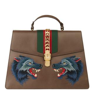 Gucci Pigskin Embroidered Sylvie Duffle XL Bag
