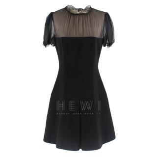 Miu Miu Black Chiffon Panel Mini Dress