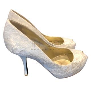 Giuseppe Zanotti White Lace Peep-Toe Pumps