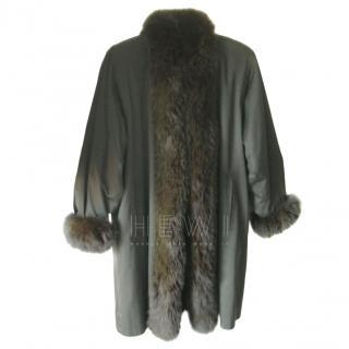 Jean Louis Scherrer Olive Khaki Fur Lined Coat
