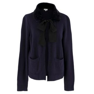 Claudie Pierlot navy cardigan with fur collar