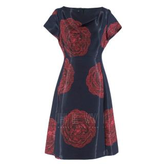 Moschino Navy Rose Print Midi Dress