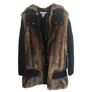 Bimba Y Lola Faux Fur Panelled Wool Coat