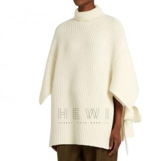 Max Mara White Knit Wool Poncho