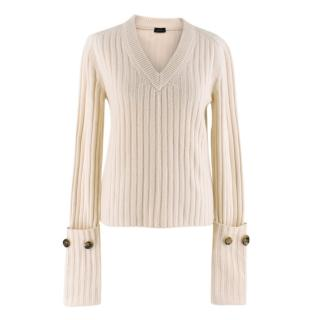 Joseph ivory v-neck ribbed wool jumper