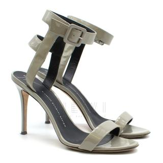 Giuseppe Zanotti Grey Patent Strappy Sandals