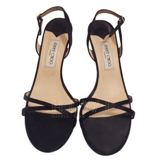 Jimmy Choo Black Satin Sandals