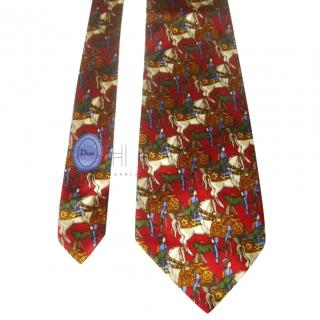 Christian Dior Red Equestrian Print Silk Tie