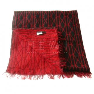 Marc by Marc Jacobs Red & Black Woven Knit Scarf