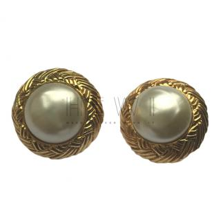 Chanel Baroque Gold Plated Vintage Earrings
