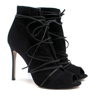 Gianvito Rossi black open toe lace up booties