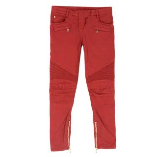 Balmain Paris Red Fitted Biker Jeans