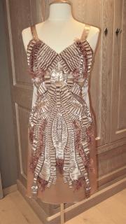 Alberta Ferretti hammered silk embellished runway dress