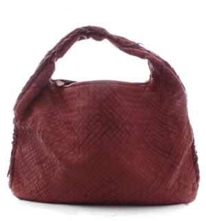 Bottega Veneta Red Intrecciato Leather Hobo Bag