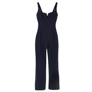 Galvan London Signature Corset Crepe Jumpsuit in Midnight