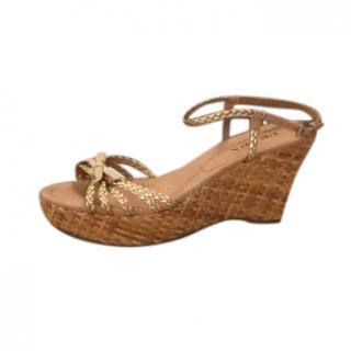 Prada Gold Leather & Cork Wedge Sandals