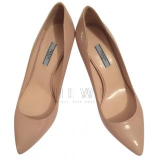 Prada Nude Patent Leather Pumps