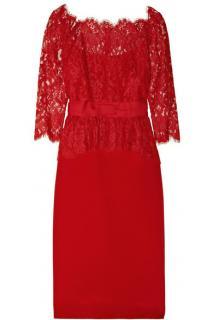 Marchesa Notte Lace and silk-sateen peplum dress